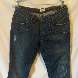 Womens Antik Denim Distressed Boot Cut Jeans Sz 31